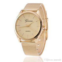 Elegantní dámské hodinky v decentním provedení  - zlatá barva
