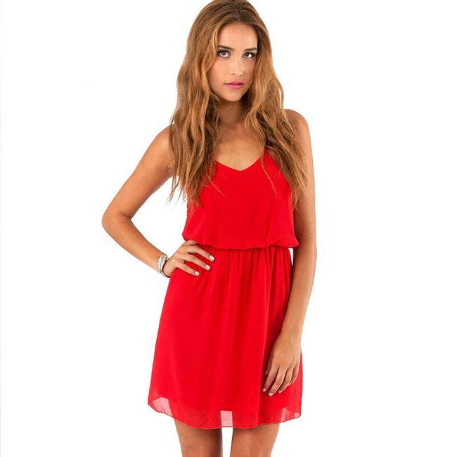 Vzdušné letní šaty - Červená-velikost č. 4 1