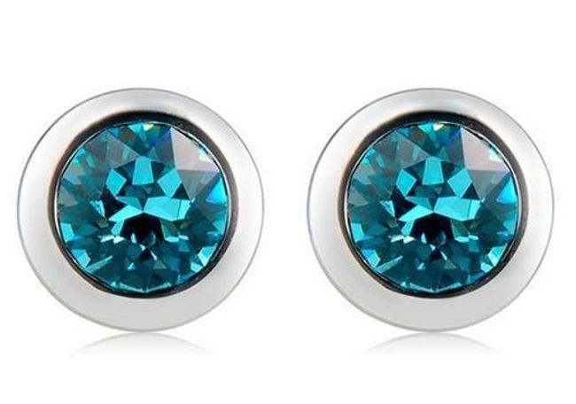 Náušnice s modrými třpytivými kameny 1