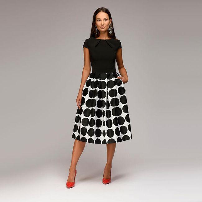 Ženska haljina sa velikim tačkama - 2 boje 1
