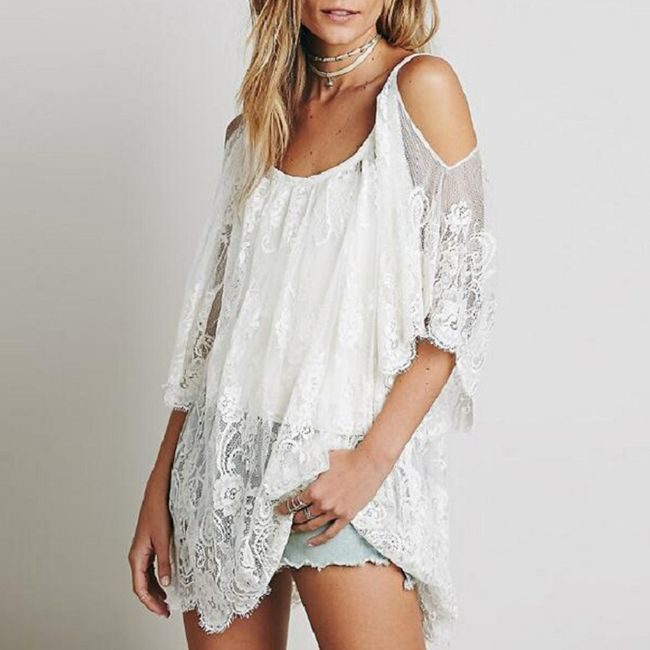 Letní krajkové šaty přes plavky - Bílá, velikost 2 1