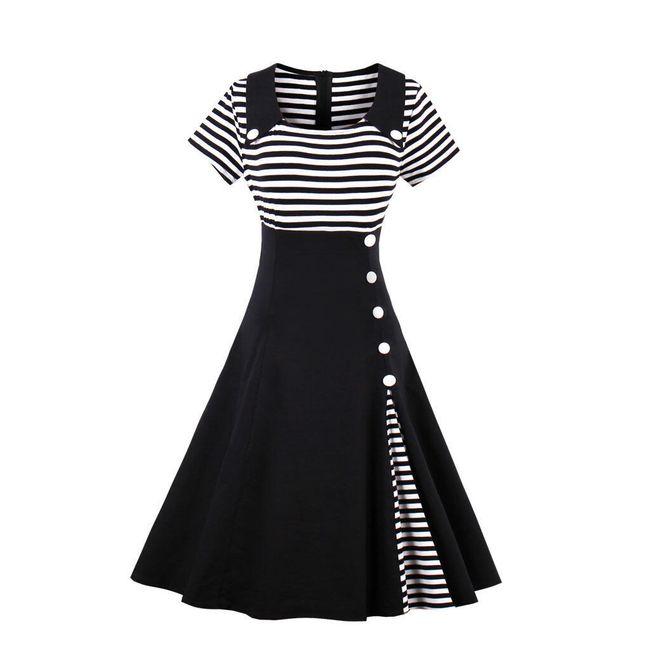 Námořnické retro šaty - Černá-velikost č. 5 1