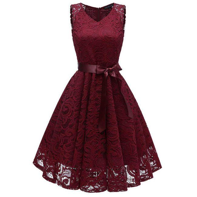 Dámské společenské šaty z krajky - Vínová-velikost č. 2 1