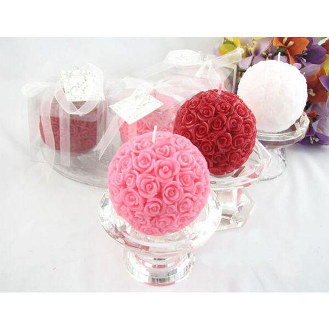 Kulatá svíčka s dekorem růžiček - ve 3 barvách 1