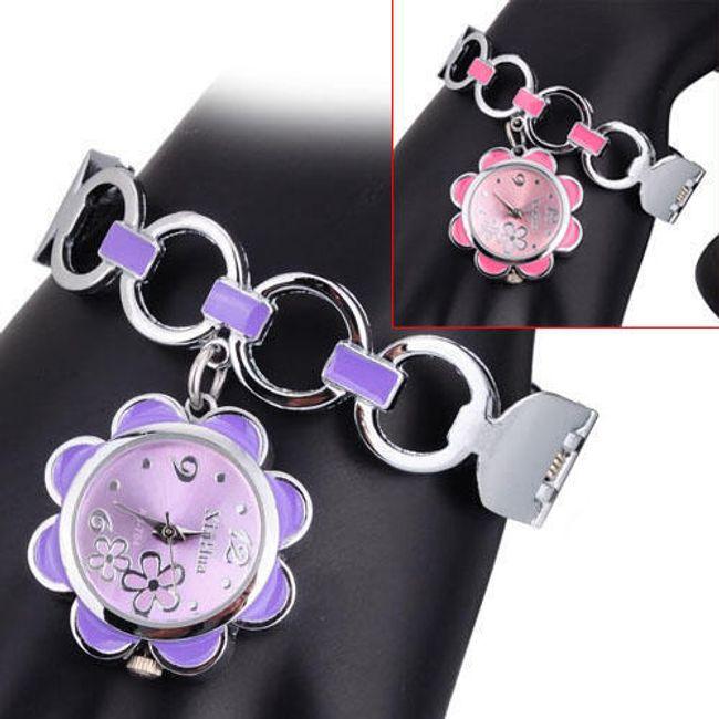 Dívčí hodinky s visacím ciferníkem ve tvaru květiny - 3 barvy 1