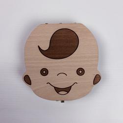 Fából készült doboz gyermekfogakhoz lengyel felirattal - fiú-EU-ban készült