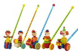 Strkadlo klaun tlačiaci 60cm drevo s tyčkou mix farieb v sáčku 12m + RM_00821122