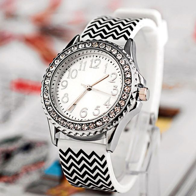 Barevné hodinky s kamínky a proužky 1