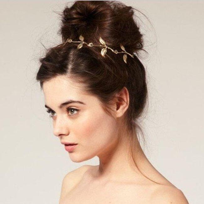 Dekorace do vlasů - věnec, zlatá barva 1