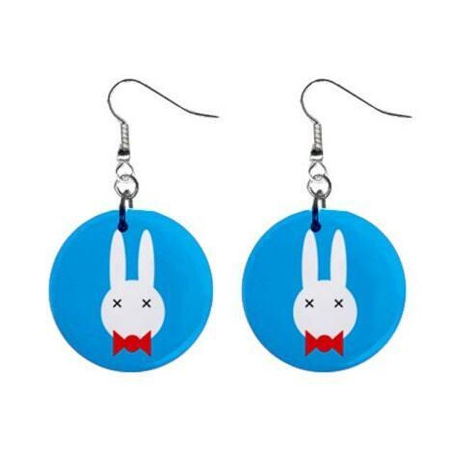 Круглые плоские серьги- Кролик 1