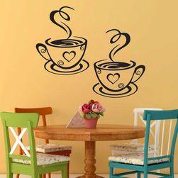 Samolepka na zeď 31 x 19 cm - Hrnky s kávou