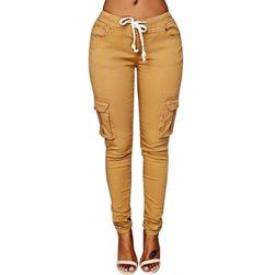 Dámské kalhoty s kapsami na stehnech
