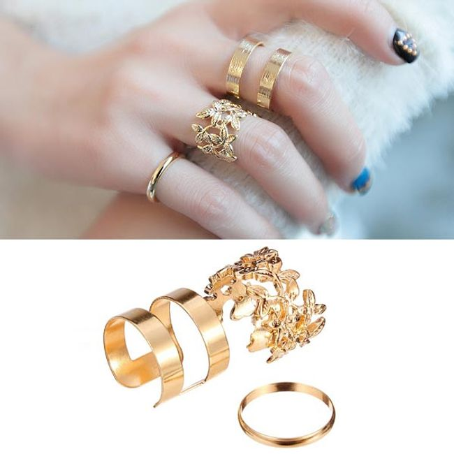 Комплект 3 пръстени - 2 цвята 1