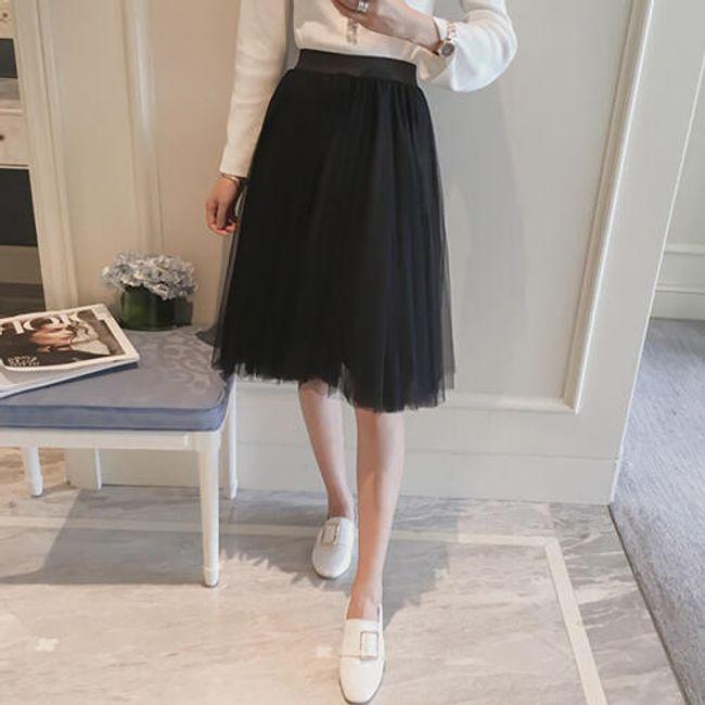 Krásná tylová sukně ke kolenům - Černá 1