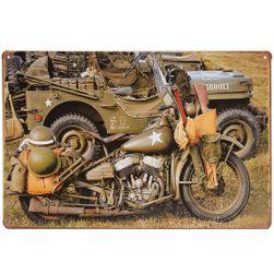 Retro fém jel - amerikai katonai motorkerékpár
