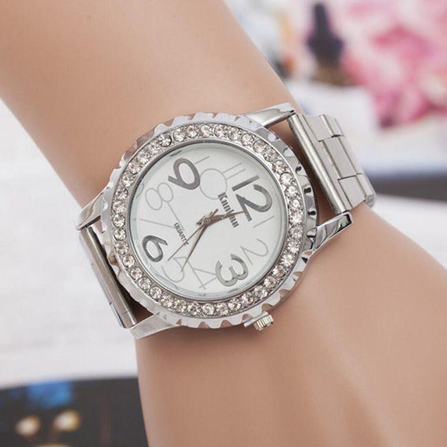 Dámské kovové hodinky s lemováním z kamínků 1