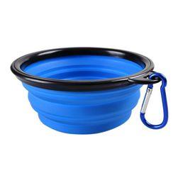 Přenosná miska pro pejsky s karabinou - 6 barev