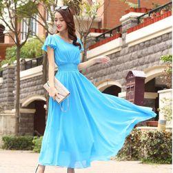 Společenské šaty s volánkovými rukávy - 3 barvy