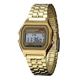 Retro digitální hodinky - zlatá barva