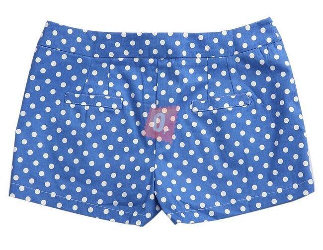 Dámské šortky modré s bílými puntíky  1