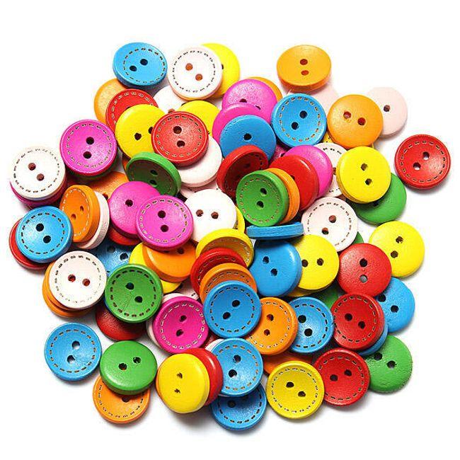 Цветные деревянные пуговицы, 100 шт. 1