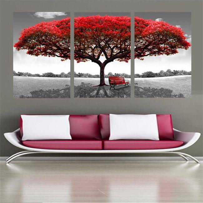 Slika na platnu z rdečim drevesom 1