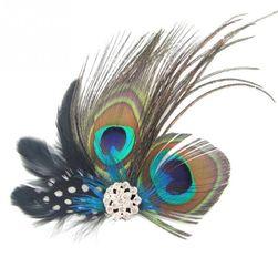 Šnala za kosu sa paunovim perjem