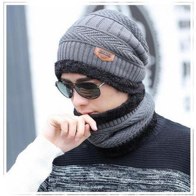 Męski komplet czapki i szalika - 5 kolorów 1