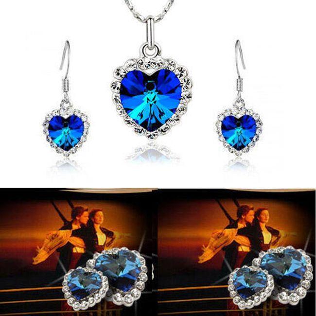 Sada elegantního náhrdelníku a náušnic v podobě Srdce oceánů 1