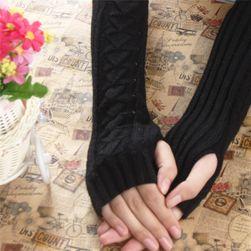 Dámské pletené rukavičky na dlaně a předloktí - černá barva