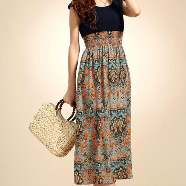 Dlouhé dámské šaty s krátkým rukávem - 4 varianty 1
