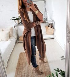 Maxi pletený cardigan - hnědý