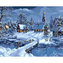 DIY slika za bojanje - zimsko selo