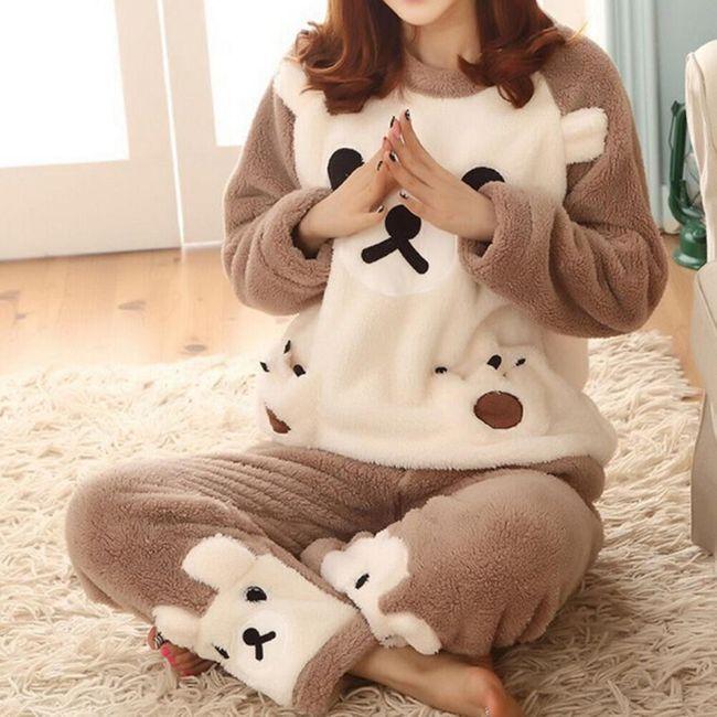 Плюшевая пижама в виде медвежонка- 4 размера 1