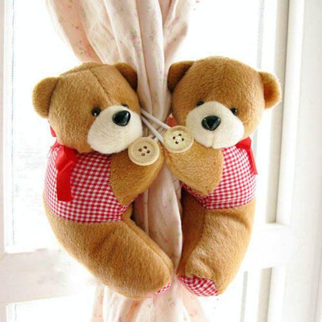 Spona na závěs pár roztomilých medvídků - na výběr ze 4 barev 1