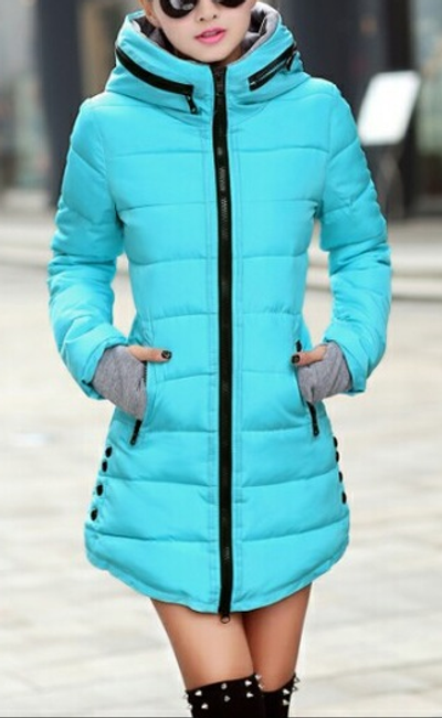 Prošívaná zimní bunda Pia - Světle modrá - velikost č. S 1