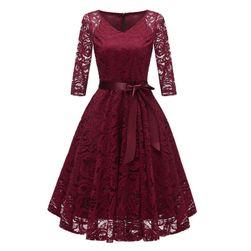 Sukienka vintage z rękawami na trzy czwarte - 5 kolorów