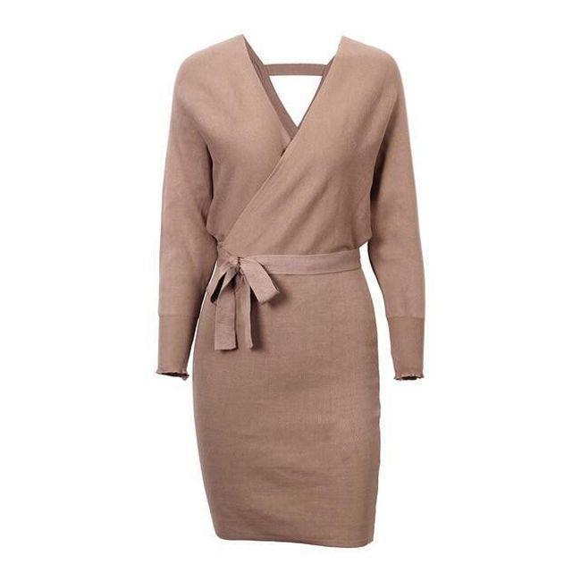 Krásné podzimní šaty s mašlí v pase - 5 barev 1