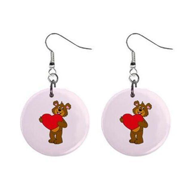 Круглые плоские серьги- Медвежонок с сердечком 1