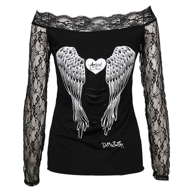 Dámské tričko s andělskými křídly a dlouhými krajkovými rukávy - Černá, velikost 4 1