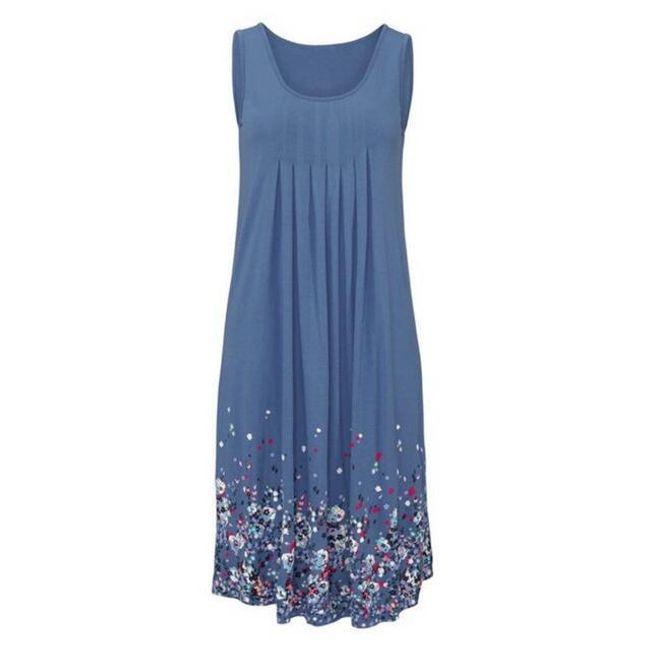 Lehké dlouhé květinové šaty pro ženy - Modrá, L 1