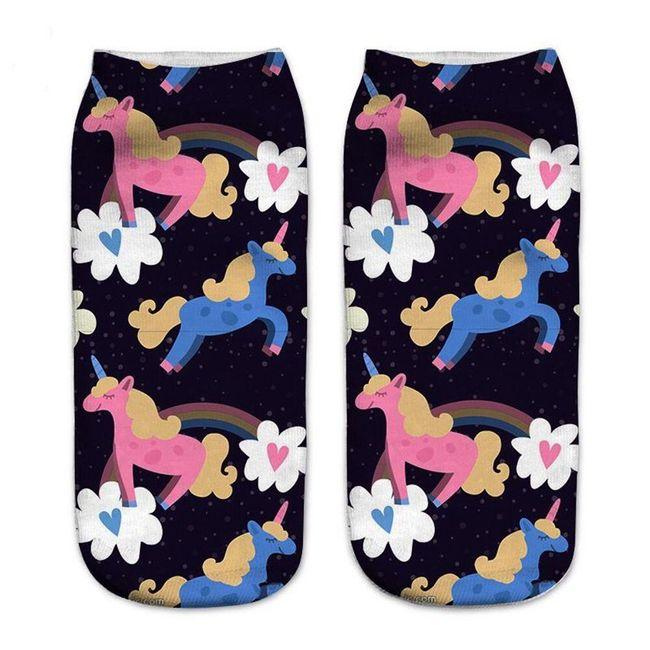 Kotníkové ponožky s jednorožci - 14 variant 1
