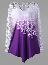 Elegancka asymetryczna bluzka z kwiatowymi rękawami