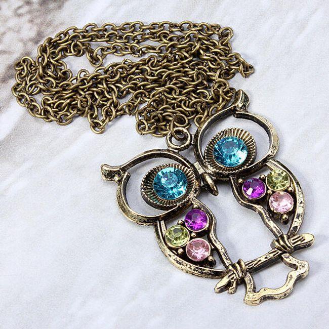 Naszyjnik z wisiorkiem w kształcie sowy ozdobiony kolorowymi kaminkami 1