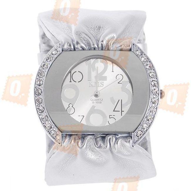 Damski zegarek z paskiem koloru srebrnego i błyszczącymi kamyczkami 1