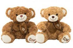 Medveď sediaci s mašľou plyš 34cm 2 farby v sáčku 0 RM_56780208