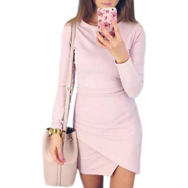 Šaty s dlouhým rukávem a překládanou sukní - 5 barev 1