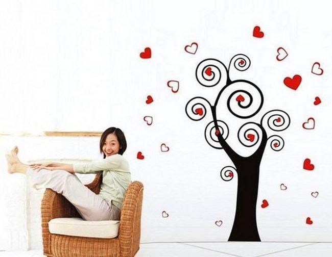 Samolepka na zeď - strom s listy ve tvaru srdce 1