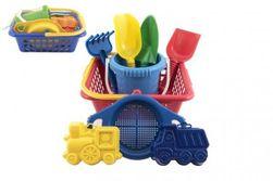 Košík sada - 2 bábovky rýľ lopatka hrabličky sitko vedierko nákupný košík plast 12m + RM_42000234