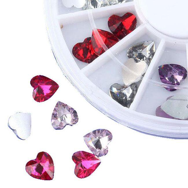 Ozdobné třpytivé kamínky ve tvaru srdce ve 12 barvách - 36 kusů 1